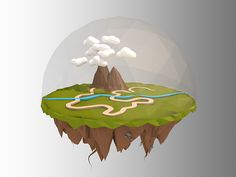 First Low Poly Floating Island on Behance