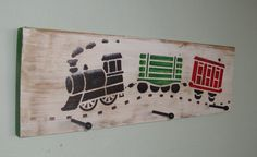 Kids Wooden Train Coat Rack by CraftedbyGale on Etsy