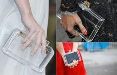 TREND ALERT: Perspex Bag   As bolsas de acrílico transparentes foram lançada ao mundo da moda ano passado, mas agora estão ganhando as fashionistas. Elas  vêm em vários formatos, mas o favorito são as clutches, pois deixam os looks mais sofisticados. Curtiu?