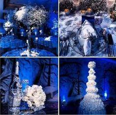 Blue and white wedding decor by Celine Reid