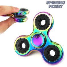 Rainbow-Stainless-Metal-Tri-Hand-Spinner-Fidget-EDC-Desk-Toy-Gift-Gyro-Boy-amp-Girl