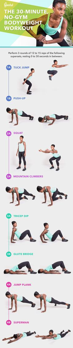 Tight on time, and no gym in sight? All you need is 30 minutes to break a sweat with this kick-butt bodyweight workout—anytime, anywhere. #fitness #bodyweight #workout http://greatist.com/fitness/no-gym-bodyweight-workout-infographic