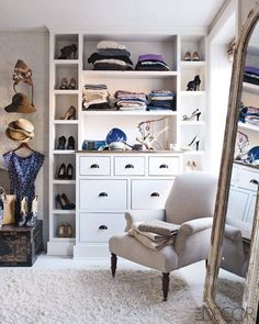 I love how this closet is customized by still looks warm and comfortable Inside Keri Russell's Brooklyn Brownstone - ELLE DECOR Decor, Home, Contemporary Bedroom, Elle Decor, Sweet Home, House, Interior Design, House Interior, Celebrity Houses