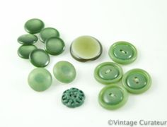 Vintage Green Buttons Mixed Lot