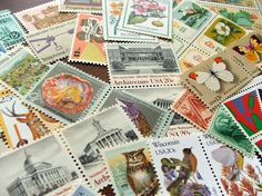 GRAB BAG .. random eclectic mix .. UNused Vintage Postage Stamps .. to post 5 envelopes