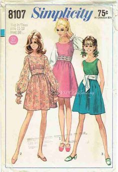 Simplicity 8107 Young Jr Teen Midriff Mini Dress vintage sewing pattern by mbchills Moda Vintage, Vintage Mode, Vintage Outfits, Vintage Dresses, Vintage Dress Patterns, Clothing Patterns, 1960s Fashion, Vintage Fashion, Mode Poster