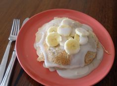 Pancakes with banana and coconut condensed milk