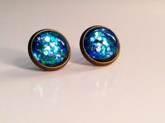 Green and Blue Glittery Sparkle Earrings by MissMablesBoutique, $15.00
