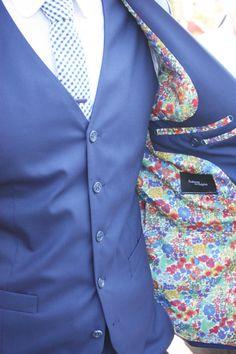 Marié - Doublure veste liberty - veston bleu - sur mesure