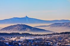 Jested in winter, as viewed from Devil Hill near the HarrachovJizerske Mountains, Czech Republic, photograph by Lubos Bruha. Cross Country Skiing, Beautiful Places In The World, Capital City, Czech Republic, Tower, Mountains, Winter, Nature, Bo Derek