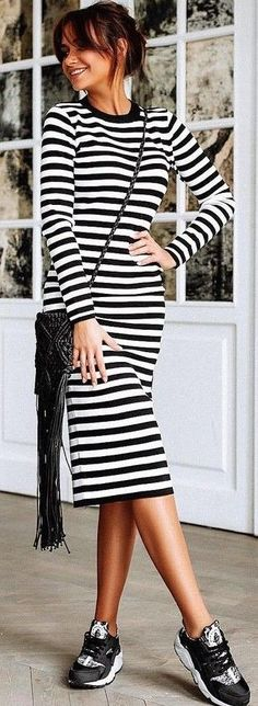 #summer #stripes #style | Stripe Midi Dress