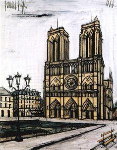 Notre Dame de Paris painting with Bernard Buffet