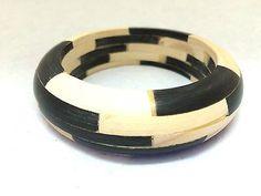 Wooden Bone Bangle Handmade Jewelry Unique Bracelet Black Off White Mo – Talkingfashion