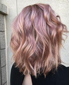 Balayage Wavy Lob Hair Cuts - Metallic Rose Gold Hair Color