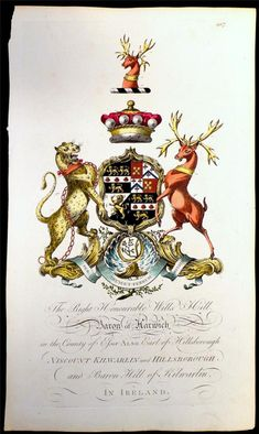 Coat of arms of Wills Hill (1718-1793), 1st Baron Harwich (GB 1756), later 1st Marquess of Downshire (I 1789), Joseph Edmondson's Baronagium Genealogium, London, 1764-1784.