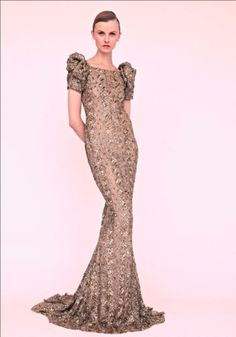 Marchesa Resort 2013 sheer nude see through sheer long pooling puff sleeve gown dress embellished