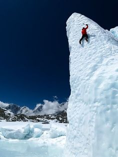 eli Steck climbs the Khumbu Glacier on Mount Everest, the tallest of the 14 8,000-meter peaks