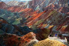 Danxia Landform  丹霞地貌 | Melinda ^..^ -- This is real. Mountain geology like you've never seen in Zhangye, Gansu, China.