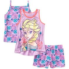 Disney Frozen Girls' Tank, Cami, and Shorts 3 Piece Set