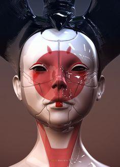 Ghost in the Shell 攻殻機動隊 2017 Geisha Robot Cyberpunk Kunst, Piskel Art, Arte Robot, I Robot, Robot Art, Cyberpunk Aesthetic, Geisha Art, Futuristic Art, Robot Design