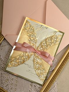Gold and peach wedding invitations from @4LOVEPolkaDots