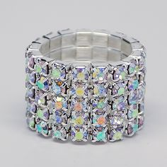 Josie 5 Row AB Crystal IFBB or NPC Bikini Fitness Competition Rhinestone Stretch Ring by ShowstopperBikini on Etsy Bikini Fitness, Bikini Workout, Fitness Competition, Npc Bikini, Crystal Rhinestone, The Row, Cuff Bracelets, Buy And Sell, Crystals