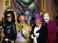 Batman's oldschool arch-villains: Lee Merriweather as Catwoman (outside left) Frank Gorshin as Riddler (left) Burgess Meredith as Penguin (right) and Cesar Romero as Joker (outside right) (circa 1966)