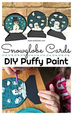 DIY Puffy Paint Snowman Snowglobe Cards. Adorable Puffy Paint Snowmen Cards - we turned ours into super cute little snowman cards. Perfect as Christmas Cards or Thank You Cards later in the year. Love this homemade puffy paint recipe. #PuffyPaint #christmascards #preschoolers #snowglobecard #snowman #snowmen #toddlers #PuffyPaintRecipe