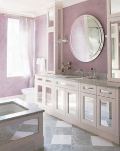 Bathroom color ideas beautiful best bathroom colors ideas for bathroom color schemes elle decor source via Purple Bathroom Decor, Purple Wall Decor, Bathroom Makeover, Bathroom Wall Decor, Amazing Bathrooms, Best Bathroom Colors, Purple Home Decor, Bathroom Color Schemes, Bathroom Design