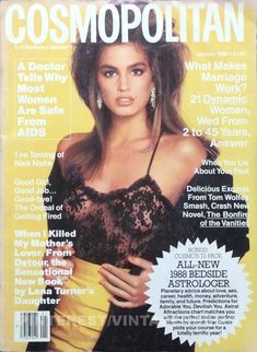 Cosmopolitan magazine, JANUARY 1988 Model: Cindy Crawford Photographer: Francesco Scavullo Controversial AIDs article