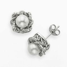 Simply Vera Vera Wang Sterling Silver Freshwater Cultured Pearl and Diamond Accent Twist Stud Earrings