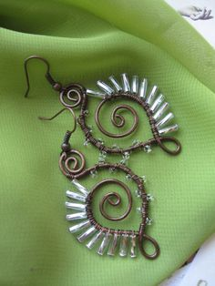 Made to Order Porcupine Earrings - Whimsical Artisan Wire Wrapped Copper and Glass (feather, wings, white, shiny, swirls, spiral)