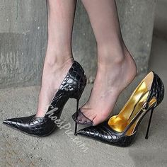Shoespie Sexy Pointed-toe Metal Buckles Stiletto Heels #stilettoheels #stilettoheelspointed #stilettoheelsstockings