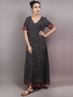 Indigo Brown Red Hand Block Printed Long Cotton Dress With Front Slit - Cotton Long Dress, Cotton Dresses, Buy Dresses Online, Maxi Gowns, Woman Clothing, Maxis, Asymmetrical Dress, Kurtis, New Dress