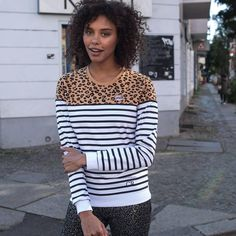 Striped Leopard Sweat Colourful Rebel | Official Online Store