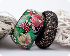 Dolci Fiori bracelet set. Hand Painted Jewelry. Flowers Lace Bangle Bracelet. Floral fashion. Bright colors. Wide and slim on Etsy, $100.00