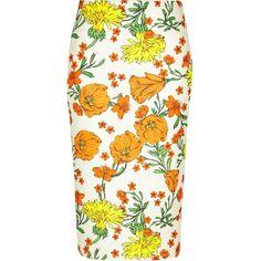 River Island Orange floral print pencil skirt (855 RUB) ❤ liked on Polyvore featuring skirts, sale, knee length skirts, orange pencil skirt, white jersey, high-waisted pencil skirts and white knee length skirt