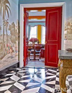 Miles Redd. Doors in a Moore & Giles leather; wallpaper, de Gournay.