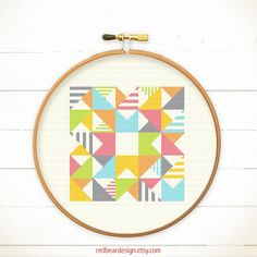 Modern Geometric Cross stitch pattern PDF - Play with Triangles n Strips    A funny and modern stitch pattern, plus colorful design. It is a funny