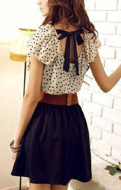 Polka Dots Printing O-neck Falbala Cuff Chiffon Dress