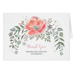 Pink Wedding Thank You Cards Pink Floral Vintage Wedding Thank You Card