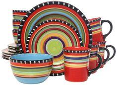 Amazon.com | Gibson Elite Pueblo Springs 16-Piece Dinnerware set, Multicolor: Dinnerware Sets