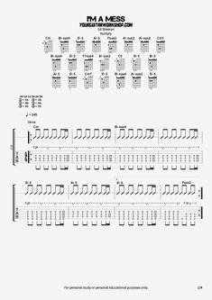 Free guitar tab for Ed Sheeran's song I'm a mess from the album X(multiply)