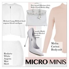 """""""New Trend: Micro Mini Skirts"""" by martso ❤ liked on Polyvore featuring Helmut Lang, Rodarte, Casadei, Hermès and microminis"""