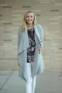 Grey Cardi Floral Blouse Look A Dash of Bruck 14