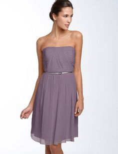 frosted violet bridesmaid dress - Google Search; OR Donna Morgan 'Sarah' Strapless Ruched Chiffon Dress color = grey ridge at Nordstroms: http://shop.nordstrom.com/s/donna-morgan-sarah-strapless-ruched-chiffon-dress/3762091?origin=category-personalizedsort&contextualcategoryid=0&fashionColor=GREYRIDGE&resultback=1239