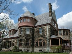 "I think something along these lines is my dream ""country"" home. This is the John Uri Lloyd House, an example of Richardsonian Romanesque architecture (rare for private homes, more often in government buildings, churches, and the like)."