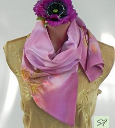 Pale pink silk scarf, Hand painted, Floral scarf, Batik, women fashion scarf, gifts her, elegant to casual scarf, spring scarf by SilkFantazi on Etsy