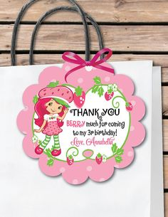 Strawberry Shortcake Favor Tags, Strawberry Shortcake theme goodie bags, Strawberry shortcake gift tags