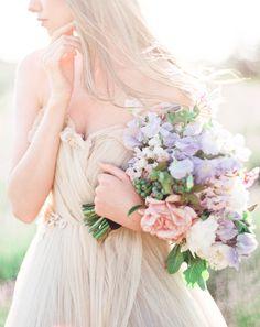 Lush Purple and Peach Bouquet   Sally Pinera Photography   Luminous Lilac Gray Wedding Palette